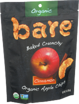 Bare Snacks Apple Chips Cinnamon, Og 3 oz product image.