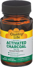 Country Life Activated Charcoal 260 Mg 40 vegan capsules product image.