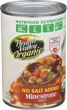 Health Valley Minestrone Soup No Salt Added 15 oz product image.
