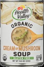 Health Valley Soup Cream Of Mushroom 14.5 oz product image.