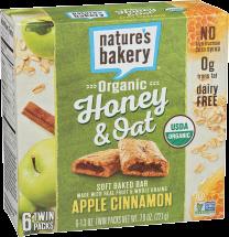 Nature's Bakery Organic Honey & Oat Bars 6 pack product image.