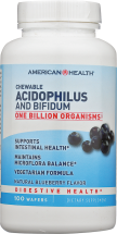 American Health Chewable Acidophilus Natural Blueberry 100 wafers product image.