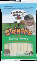 Organic Valley Stringles Organic Mozzarella String Cheese Snack Stick product image.