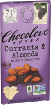Chocolove Currants & Almonds In Dark Chocolate 3.2 oz product image.