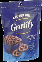 Gratify Milk Chocolate Pretzels Twists 5.5 oz product image.