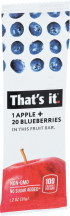 That's It Fruit Bar Apple + Blueberry 1.2 ounce product image.