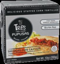 Tres Latin Foods™ Shredded Pork & Pinto Bean Pupusas 4 each product image.