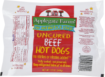 Applegate Farms Uncured Hotdogs Beef 12 oz. product image.