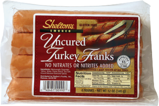Shelton's Uncured Turkey Franks Smoked 12 oz., product image.
