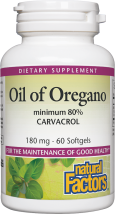 Natural Factors Oil Of Oregano 60 Softgels product image.