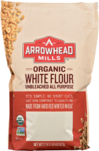 Arrowhead Mills Organic Unbleached White Flour 22 oz product image.