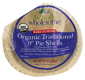 Wholly Wholesome Organic Traditional Pie Shells 9 inch 14 oz. product image.