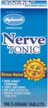 Hyland's Nerve Tonic Non-Habit Forming Stress Relief 100 tablets product image.