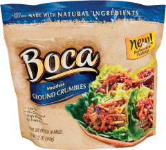 Boca Meatless Ground Crumbles Made with Natural Ingredients 12 oz. product image.