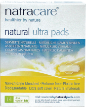 Natracare Natural Ultra Pads Non-Chlorine Bleached, Biodegradable 14 ct. product image.