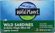Wild Planet Sustainably Caught Wild Sardines In Extra Virgin Olive Oil 4.37 oz. product image.