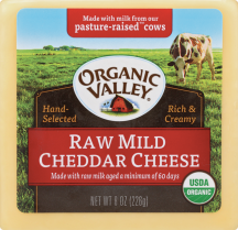Organic Raw Mild Cheddar Cheese product image.