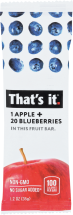 That's It Apple + Blueberry Fruit Bar 1.2 oz product image.
