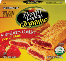 Health Valley Organic Cereal Bars Strawberry Cobbler 7.9 oz product image.