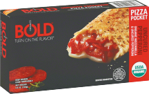 Bold Organics Assorted Frozen Calzones 4.5 oz product image.