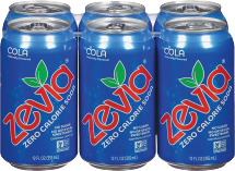 Zevia Natural Zero Calorie Cola 6 pack 72 oz product image.